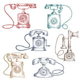 Vintage corded telephones sketches Stock Photos
