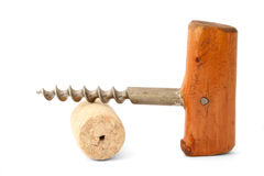 Vintage cork-screw on white Stock Images