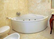 Vintage corner bathtub. In retro bathroom interior Royalty Free Stock Photo