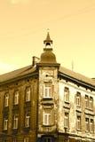 Vintage corner house. Old good europe building sample, looks like after second world war Stock Image