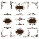 Vintage corners and stickers with ornament. Beautiful vector vintage corners, frames, borders in an old baroque. Black Graphics ornaments on a white background Stock Photos