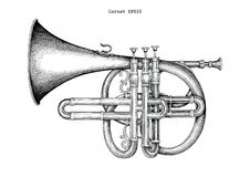 Vintage Cornet hand drawing engraving illustration,The classical. Music instrument stock illustration
