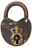 Vintage corroded padlock isolated on white Stock Photo