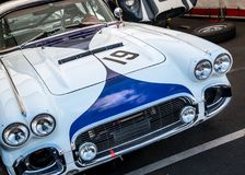Vintage Corvette racing car royalty free stock photos