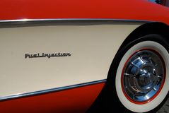 Vintage Corvette. 1950`s restored classic car on display at car show Stock Photos