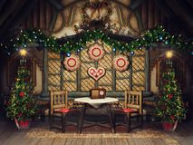Vintage cottage with Christmas trees stock illustration