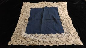 Vintage cotton & lace handkerchief Royalty Free Stock Image
