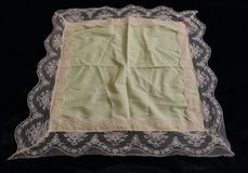 Vintage cotton & lace handkerchief yellow & pink Royalty Free Stock Image