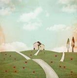 Vintage country landscape vector illustration