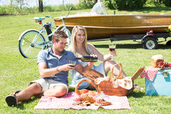 Vintage country picnic at the lake Stock Image