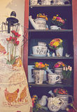 Vintage Country pottery and apron Stock Photo