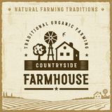 Vintage Countryside Farmhouse Label. In retro woodcut style. Editable EPS10 vector illustration with clipping mask and transparency Stock Photo