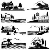 Vintage countryside landscape with farm scene. Vector backgrounds in woodcut style royalty free illustration
