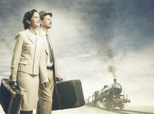 Vintage couple leaving for vacations Stock Photos