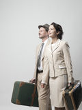 Vintage couple leaving for vacations Stock Photography