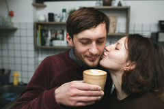 Vintage couple preparing coffee with vacuum coffee maker.Coffee Royalty Free Stock Photography