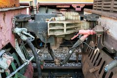 Vintage coupling between the railway wagons royalty free stock photography