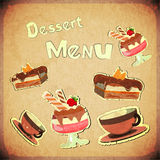 Vintage Cover Cafe or confectionery  dessert  Menu. Vintage Cover Cafe or Confectionery Dessert Menu on Retro background - illustration Stock Photo