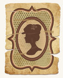Vintage cover design with female silhouette. Vector illustration Stock Photos