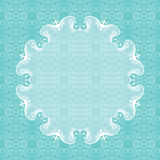 Vintage cover with ornamental round frame. Blue ornamental background. Vector Royalty Free Stock Images