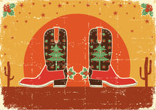Vintage cowboy christmas card Stock Photo