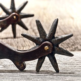 Vintage Cowboy Western Spurs With Old Star Rowel Royalty Free Stock Photography