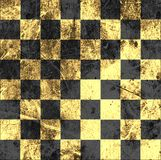 Vintage crack old scratched empty chess board. Royalty Free Stock Photo