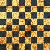 Vintage crack old scratched empty chess board. Royalty Free Stock Images
