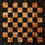Vintage crack old scratched empty chess board. Stock Image