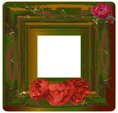 Vintage cracked frame with red roses Royalty Free Stock Photos