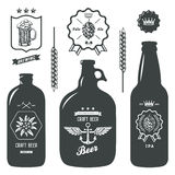 Vintage craft beer bottles brewery label sign set Royalty Free Stock Photo