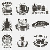Vintage craft beer brewery emblems Stock Photos