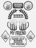 Vintage craft beer brewery emblems, labels and design elements. Beer my best friend. Illustration vector illustration