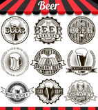 Vintage craft beer brewery emblems, labels and design elements. Retro set styled label of beer. Vintage craft beer brewery emblems, labels and design elements Stock Photo