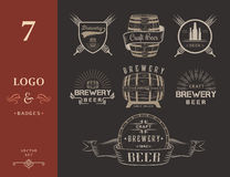 Vintage Craft Beer Brewery Logo and Badge Royalty Free Stock Photos