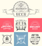 Vintage Craft Beer Brewery Logo and Badge Stock Images
