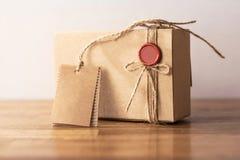 Vintage craft cardboard gift box Royalty Free Stock Image