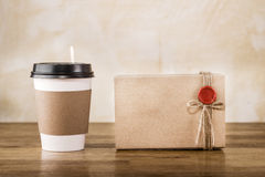 Vintage craft paper cup and package Royalty Free Stock Photo