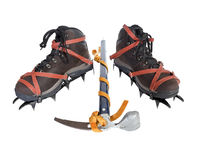 Vintage Crampons and Ice Axe. Stock Images