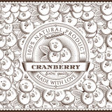 Vintage Cranberry Label On Seamless Pattern Stock Images