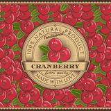 Vintage Cranberry Label On Seamless Pattern Stock Photos