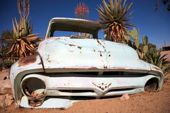 Vintage crashed car in the desert Stock Photography