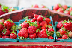 Vintage Crate of Strawberries Stock Photography