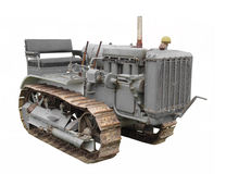 Vintage crawler tractor isolated. Stock Image