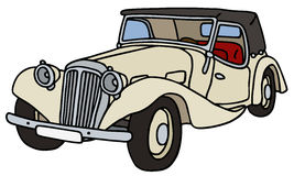 Vintage cream cabriolet. Hand drawn vector illustration Vector Illustration