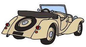 Vintage cream cabriolet. Vintage light beige cabriolet, hand drawn vector illustration Vector Illustration