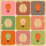 Vintage Creative Brain idea with power Royalty Free Stock Images