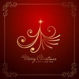 Vintage creative christmas tree design in golden color. Vector illustration Stock Photos