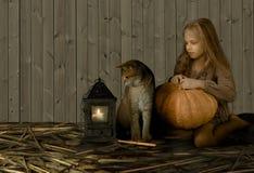Vintage, crianças Estilo retro Menina consideravelmente loura com uma abóbora grande e um gato britânico que sentam-se na palha,  Fotos de Stock