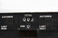 Vintage cricket score-board. A cricket score board with distressed wood and flaking paint Stock Image